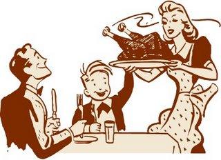 Cartoon family thanksgiving